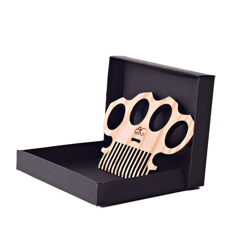 Brass Knuckles Beard Comb And Gift Box W/ Optional Leather Case & Personalized Engraving