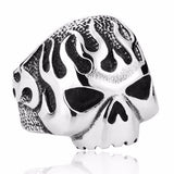 316L Stainless Steel Silver Skull Flames Ring - Bikers 4 Life Stuff - 1