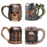 Personalized Double Wall Stainless Steel 3D Skull Mugs