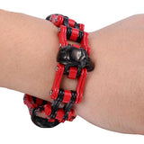 Red & Black 18mm/22mm Skulls Motorcycle Chain 316L Stainless Steel Bracelet