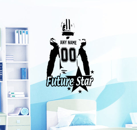 Football Wall Decal Custom NAME & NUMBERS Vinyl sticker