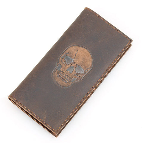Genuine Leather Long Design Skull Wallet