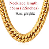 Heavy 13MM 28'' Black Gun / Gold Plated / Silver Stainless Steel Long Chunky Chain Necklace