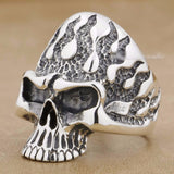 Huge Flame Fire Skull Biker Ring - Bikers 4 Life Stuff - 2