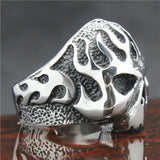 316L Stainless Steel Silver Skull Flames Ring - Bikers 4 Life Stuff - 5