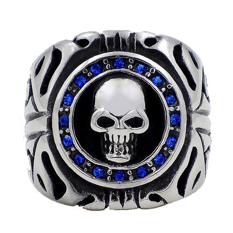 Sapphire Blue CZs Skull 316L Stainless Steel Ring