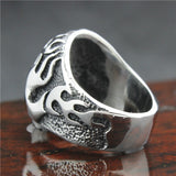316L Stainless Steel Silver Skull Flames Ring - Bikers 4 Life Stuff - 4