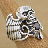 925 Sterling Silver Devil Wing Skull Red CZ Stone Ring - Bikers 4 Life Stuff - 3