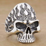 Huge Flame Fire Skull Biker Ring - Bikers 4 Life Stuff - 1