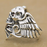 925 Sterling Silver Devil Wing Skull Red CZ Stone Ring - Bikers 4 Life Stuff - 2