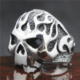 316L Stainless Steel Silver Skull Flames Ring - Bikers 4 Life Stuff - 3