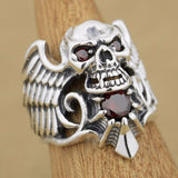 925 Sterling Silver Devil Wing Skull Red CZ Stone Ring - Bikers 4 Life Stuff - 1