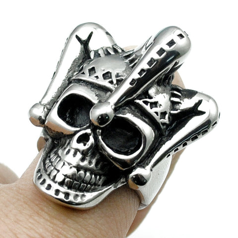 Silver Plated Rock Style Clown Hat Skull Ring - Bikers 4 Life Stuff - 1