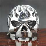 316L Stainless Steel Silver Skull Flames Ring - Bikers 4 Life Stuff - 2
