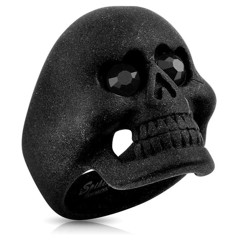 Stainless Steel Matte Black Skull Eyes Ring - Bikers 4 Life Stuff