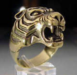 Bronze Tiger Biker Ring Custom Size Handmade