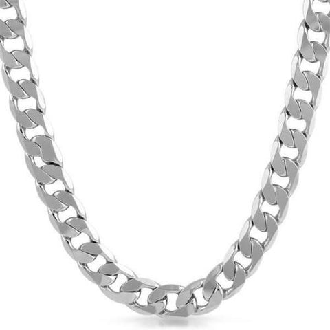12mm Jumbo Silver Plated Curb Link Chain Necklace