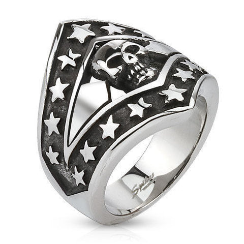 Stainless Steel Skulls and Stars Biker Ring - Bikers 4 Life Stuff