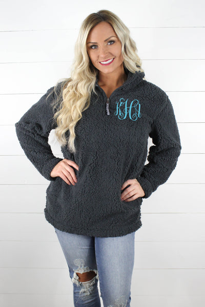 Quarter Zip Sherpa Pullover WITH Monogram!! - Glittering Boutique