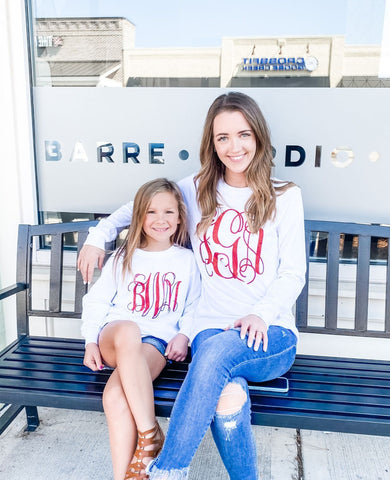 Long Sleeve Personalized Glitter Monogrammed Tee