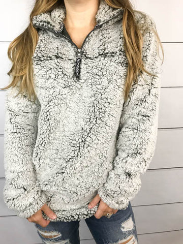 Super Comfortable Sherpa Quarter Zip Pullover - Glittering Boutique