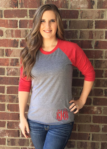 Monogrammed Baseball Raglans 3/4 Sleeve - 17 Colors!!