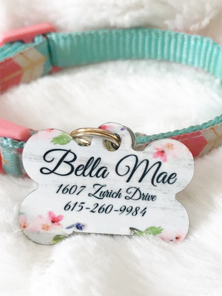 Personalized Floral Pet ID Tag - Glittering Boutique