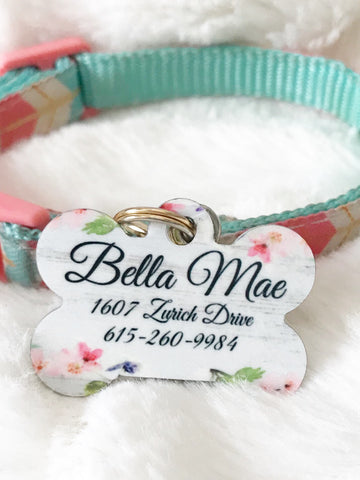 Personalized Floral Pet ID Tag