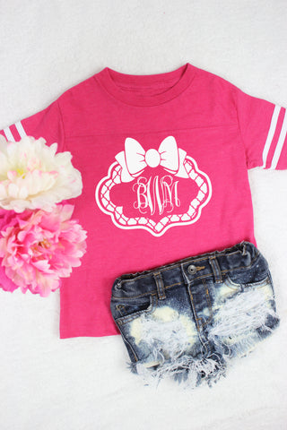 Toddler Football Tee Quatrefoil Bow Monogram - Glittering Boutique