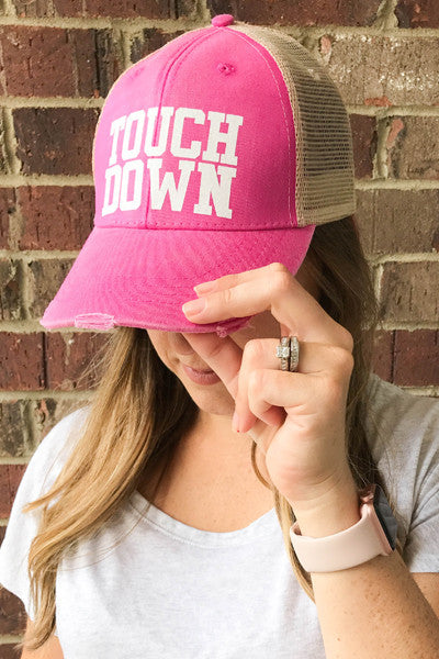 TOUCHDOWN DISTRESSED HAT - Glittering Boutique