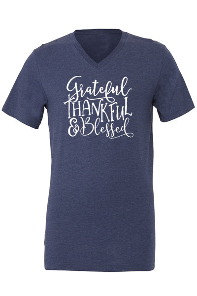 Grateful Thankful Blessed V Neck - Glittering Boutique