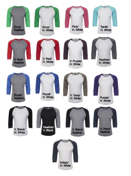 Monogrammed Baseball Raglans 3/4 Sleeve - 17 Colors!! - Glittering Boutique