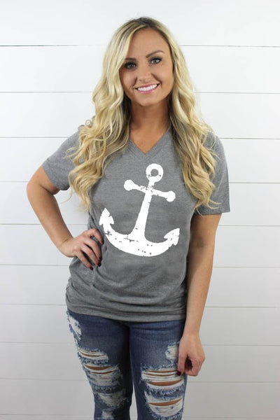 Anchor V Neck - Glittering Boutique