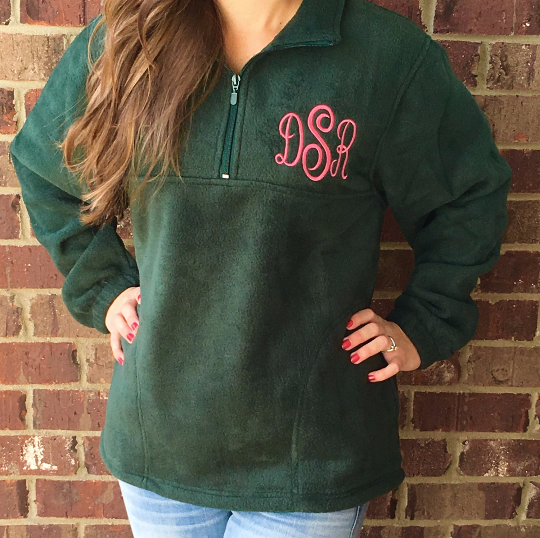 Monogrammed Quarter Zip Pullover - 6 Colors!! - Glittering Boutique
