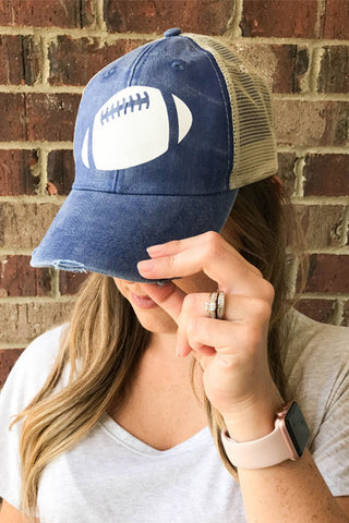 FOOTBALL DISTRESSED HAT - Glittering Boutique