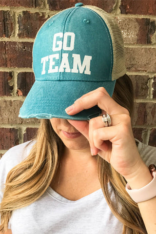 GO TEAM DISTRESSED HAT - Glittering Boutique