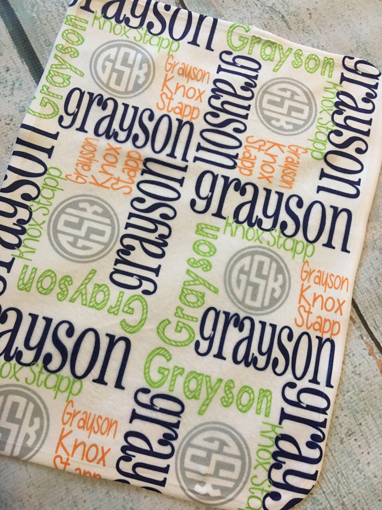 Personalized baby blankets grayson collection glittering boutique personalized baby blankets grayson collection negle Gallery