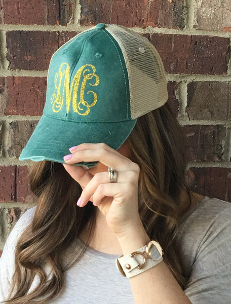 Monogrammed Distressed Hats - 6 Colors!! - Glittering Boutique
