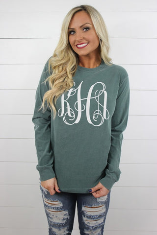Long Sleeve Full Size Monogram Comfort Color Tee - Glittering Boutique