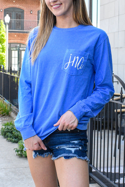 Copy of Long Sleeve Personalized Comfort Color Pocket Tee