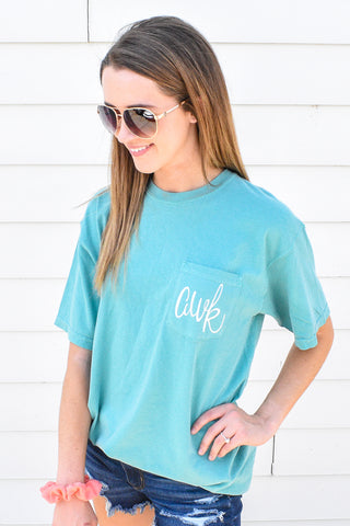 Short Sleeve Personalized Comfort Color Pocket Tee