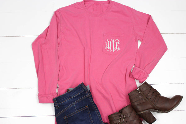 Long Sleeve Personalized Comfort Color Pocket Tee - Glittering Boutique