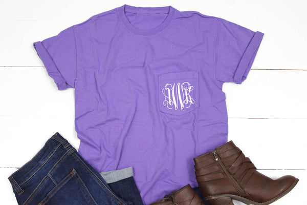 Short Sleeve Personalized Comfort Color Pocket Tee - Glittering Boutique