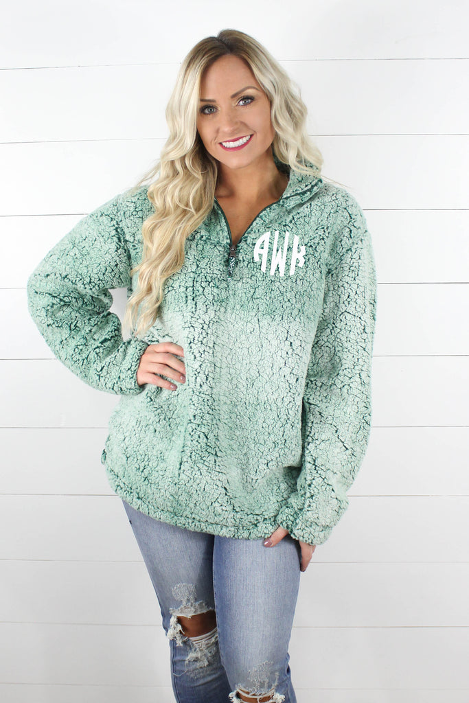 03a4572d4 Quarter Zip Sherpa Pullover WITH Monogram!! – Glittering Boutique