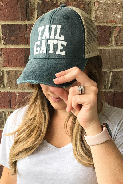 TAILGATE DISTRESSED HAT - Glittering Boutique
