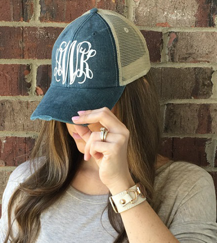 Monogrammed Distressed Hats - 6 Colors!!