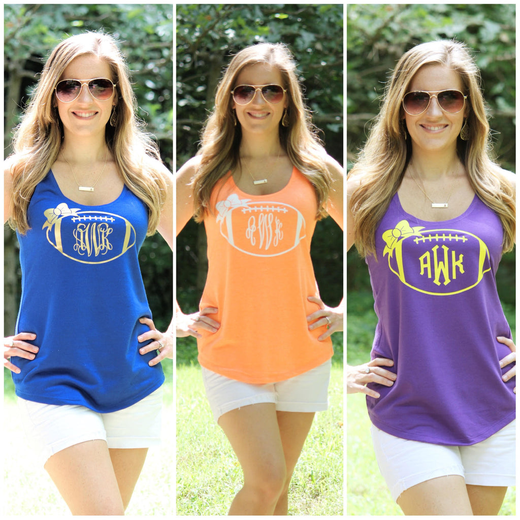 Personalized Football Tank - 17 Tank Color Options!! - Glittering Boutique
