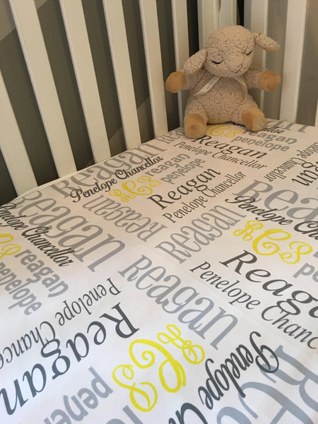 Personalized Baby Blanket - Yellow, Grey, Light Grey, Monogrammed