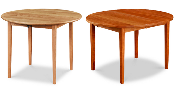 Comparison of newly built cherry table with light color and aged cherry table with dark red color