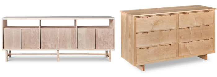 Comparison of newly built maple Navarend Media Stand with light pink color and aged maple Foundation dresser with golden honey color